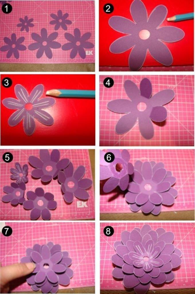 цветочки своими руками из бумаги на открытку выдвигаем верхние