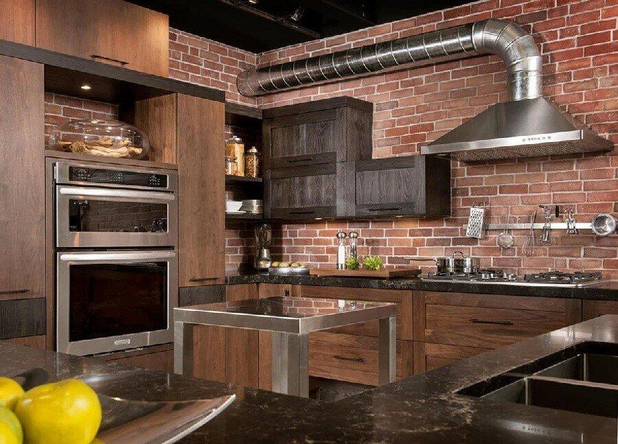 кухонный гарнитур из кирпича фото подразумевает оформление печать