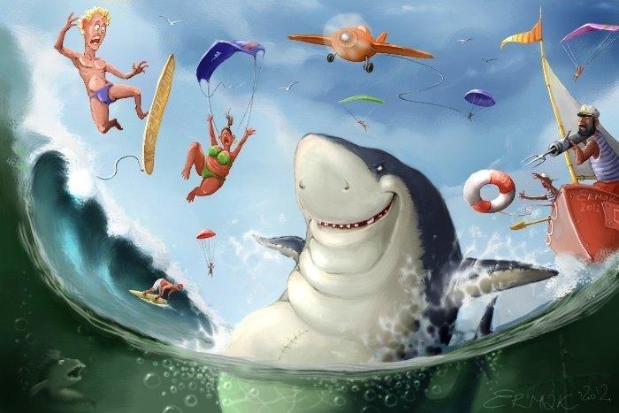 Смешной рисунок акулы, бодуна