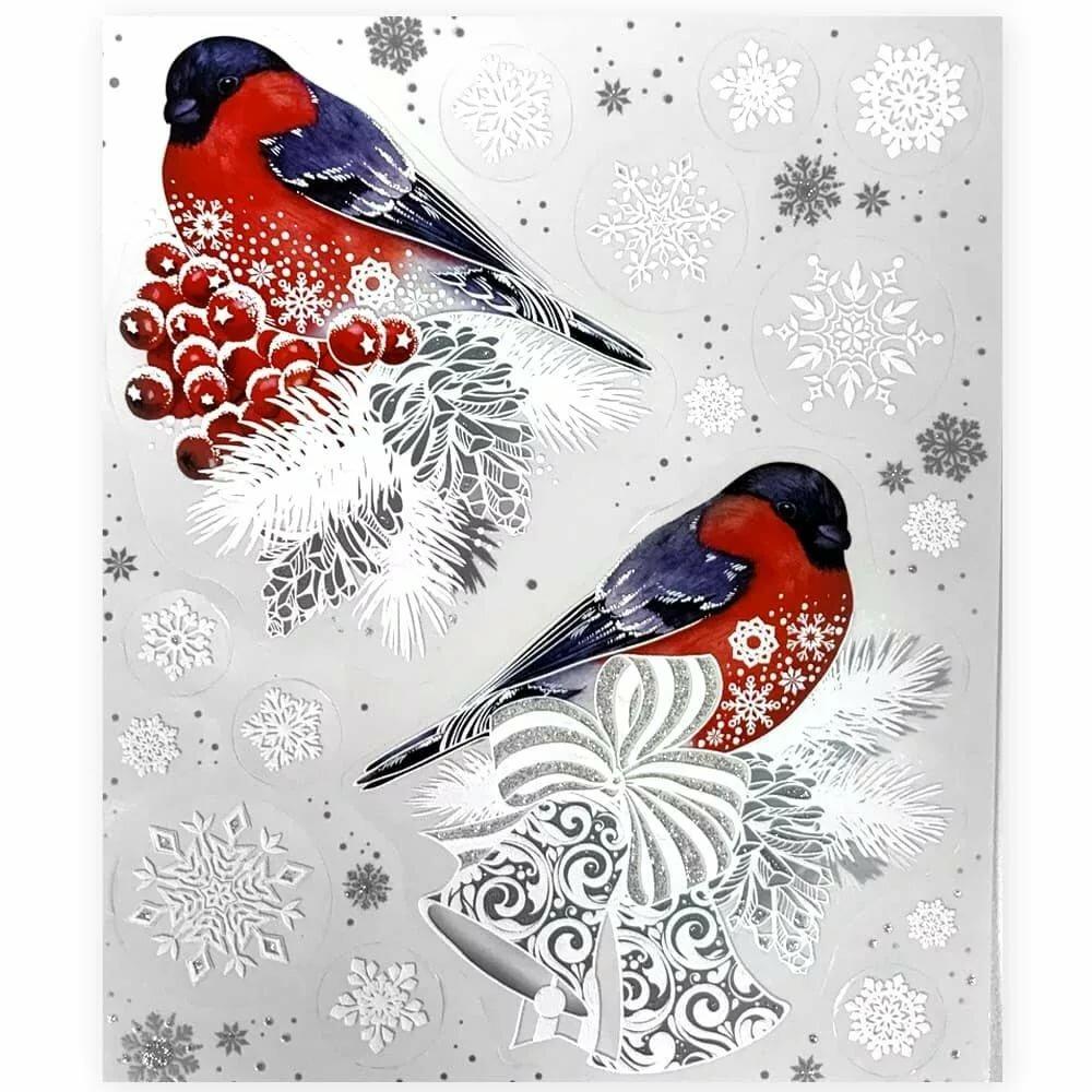 Снегири картинки на окна цветные шаблон для