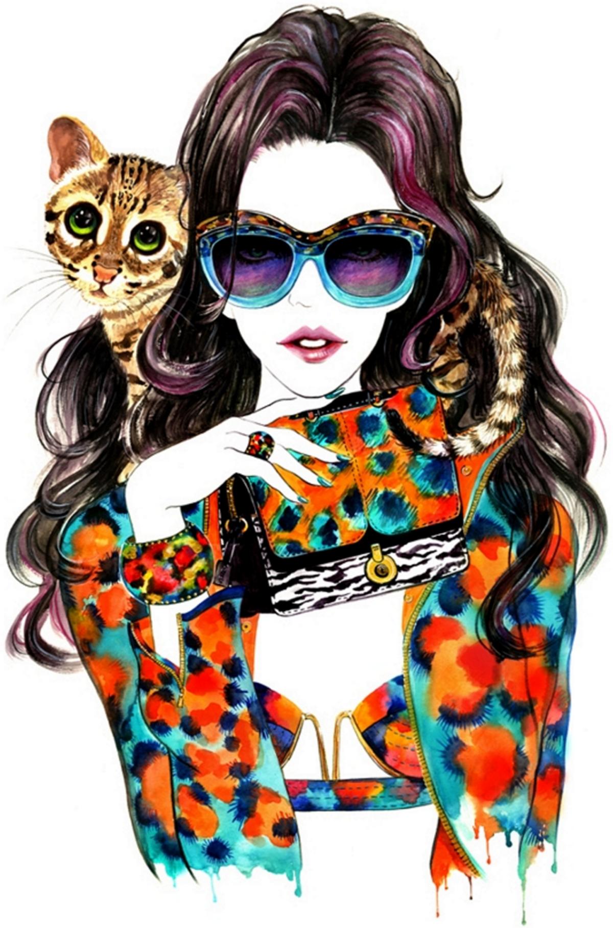 Картинка модная девушка рисунок