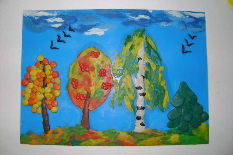 Картинка осень пластилином