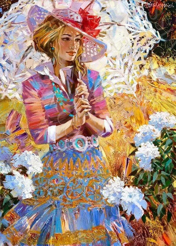 Картинки девушки с зонтиком из цветов