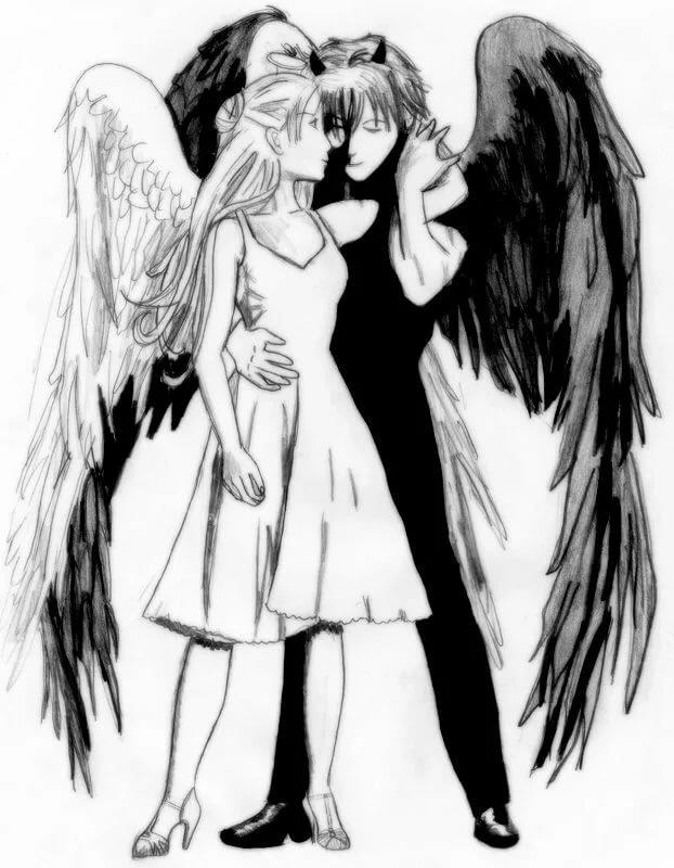 Картинки ангела и демона рисунок