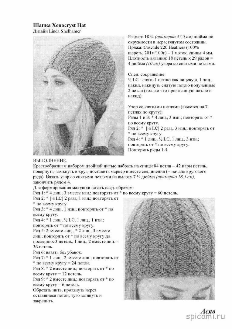 Картинки вязаные шапки спицами с описанием