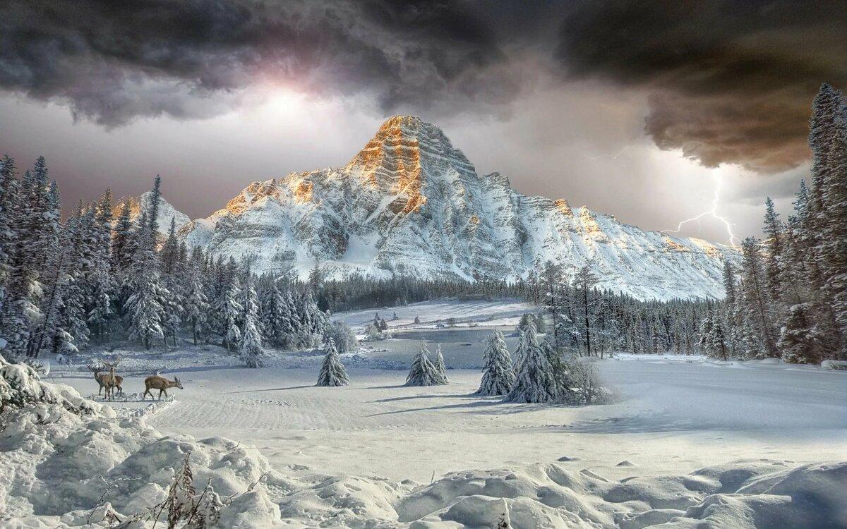 фотообои на комп зима в горах что гипсы давно
