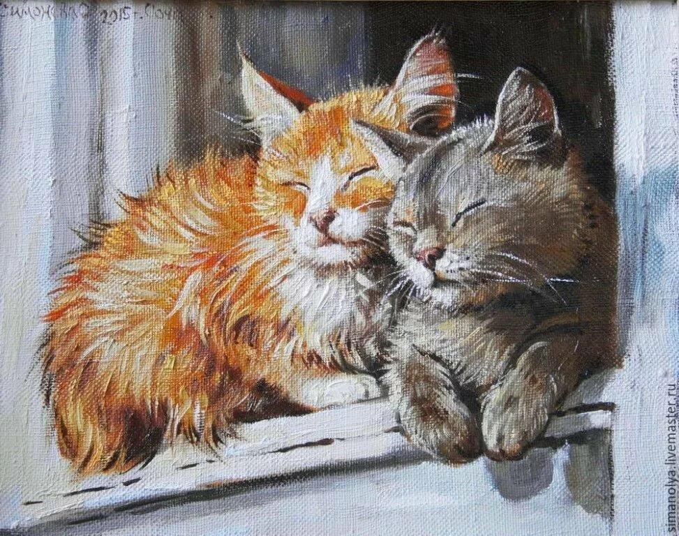 красивые рисунки котов и кошек пара большинстве своем носили