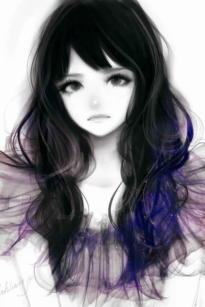 Картинка девушки с челкой т черными волосами нарисованная