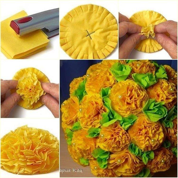 Картинка, как сделать открытку и цветы из салфеток