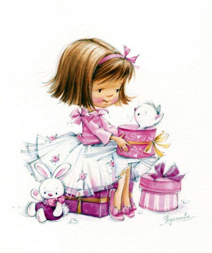 На открытке нарисована девочка, открытки