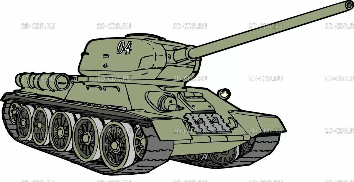 Картинка военного танка для детей цветная