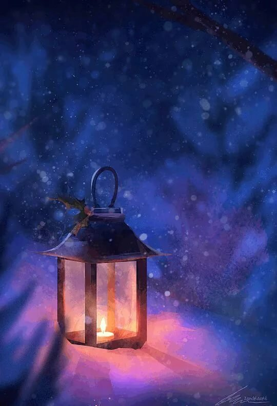 Картинка анимация с фонарем