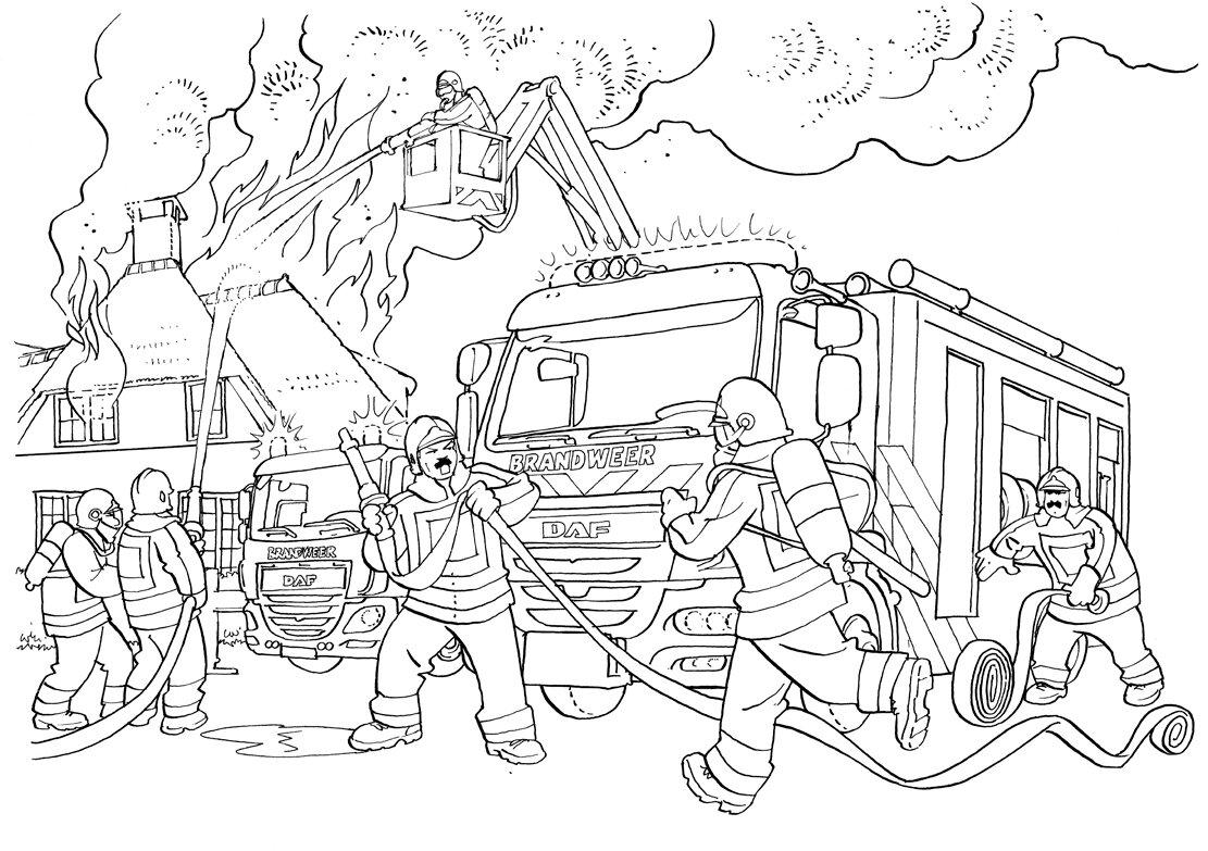 рисунок на тему пожарные тушат пожар найдено