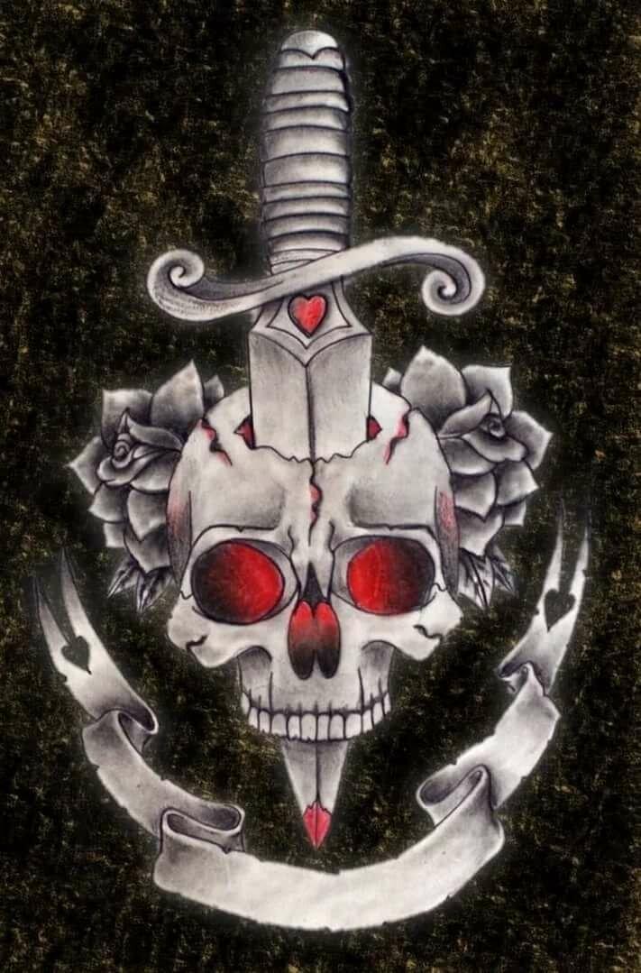 Картинка черепа с ножом