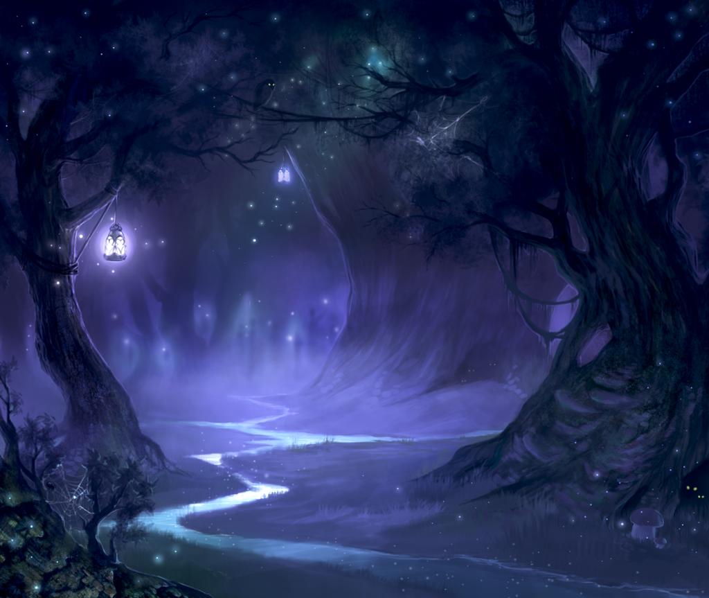 Ночной лес рисунок что