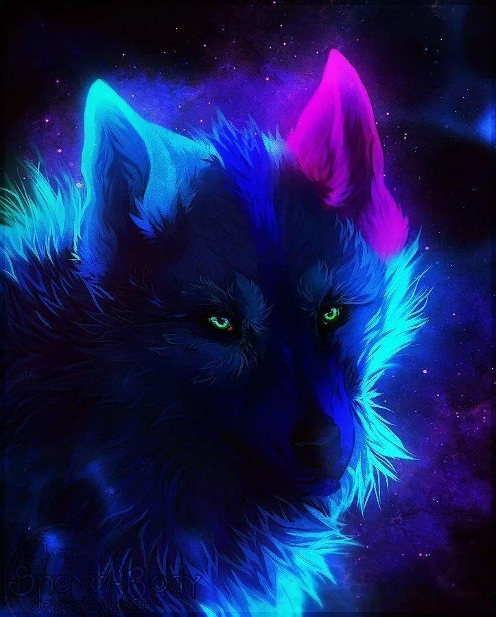 Картинки неоновых волков