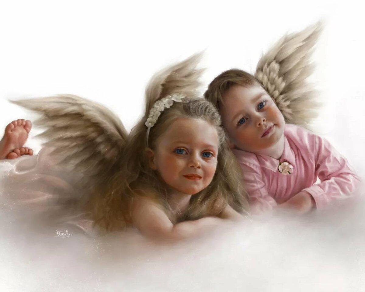 Картинка мальчик и девочка ангелы