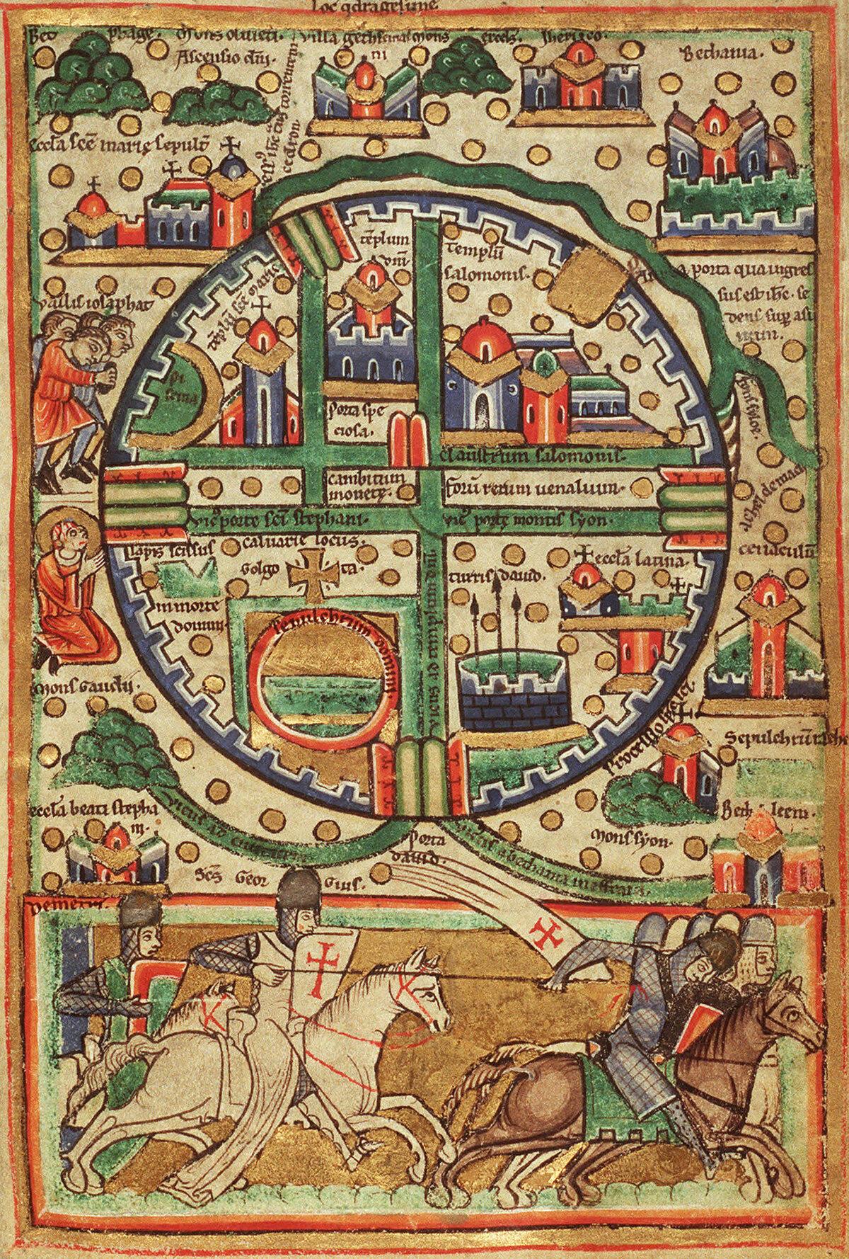 Храм Соломона на плане Иерусалима 1200 года