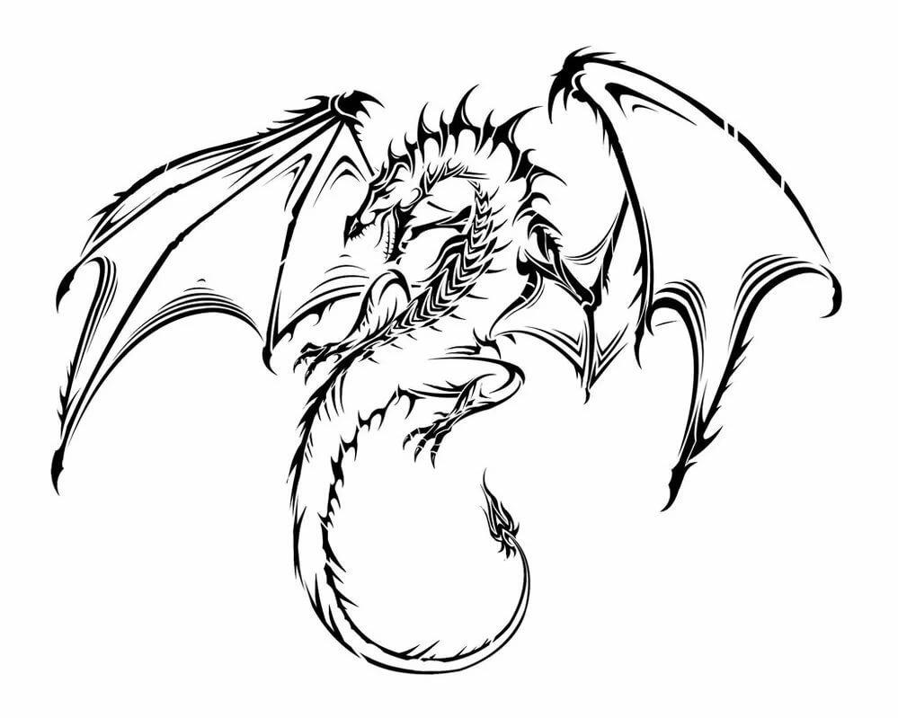 рисунки тату драконов карандашом например
