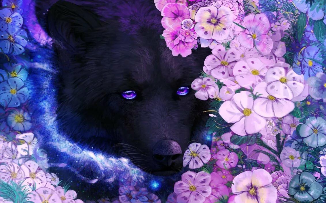 Картинки волки цветы