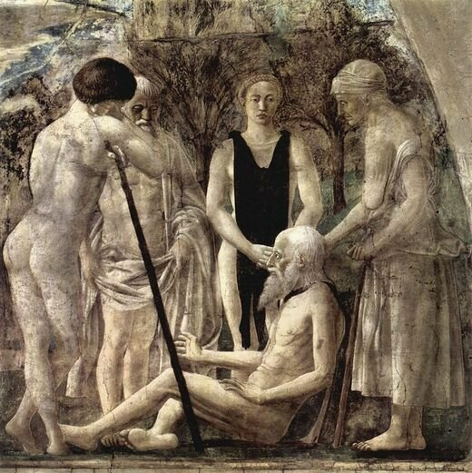 «Смерть Адама», фреска Пьеро делла Франческа, Базилика Сан-Франческо в Ареццо