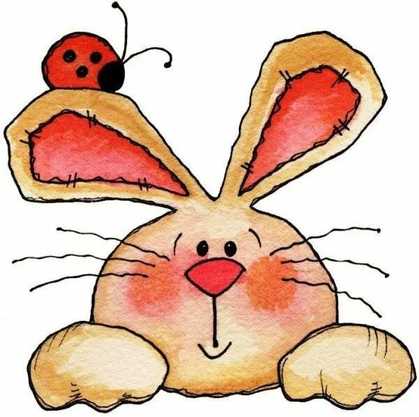 рисунок зайца смешной