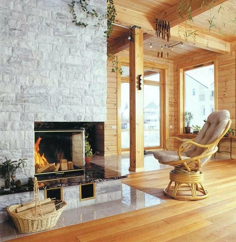 виды каминов для дома имитация бруса фото