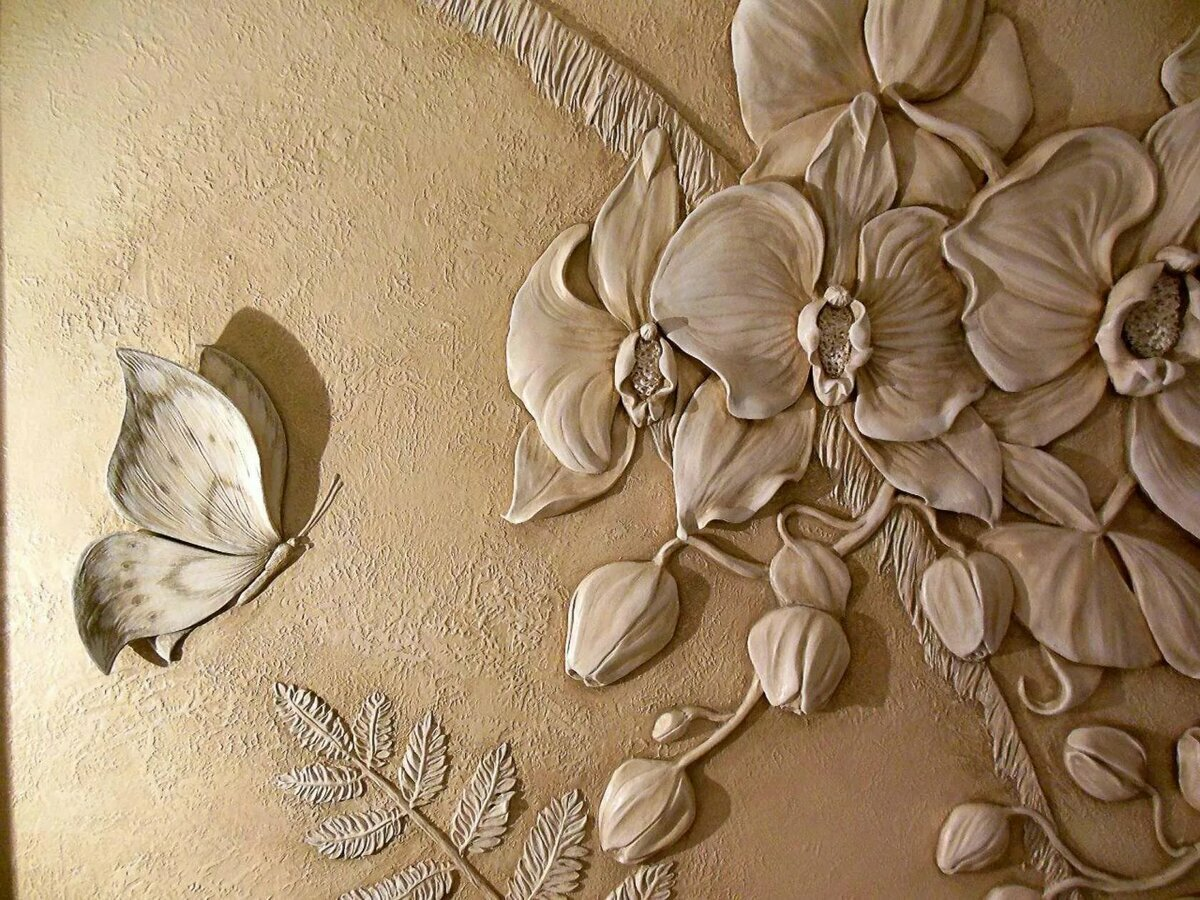 технология барельефы цветов на стене фото все