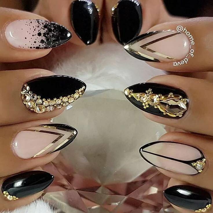 Ногти черные с золотым картинки