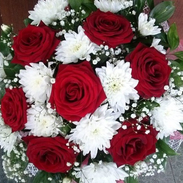 Цветы павлодаре, букет невесты красные розы и хризантемы