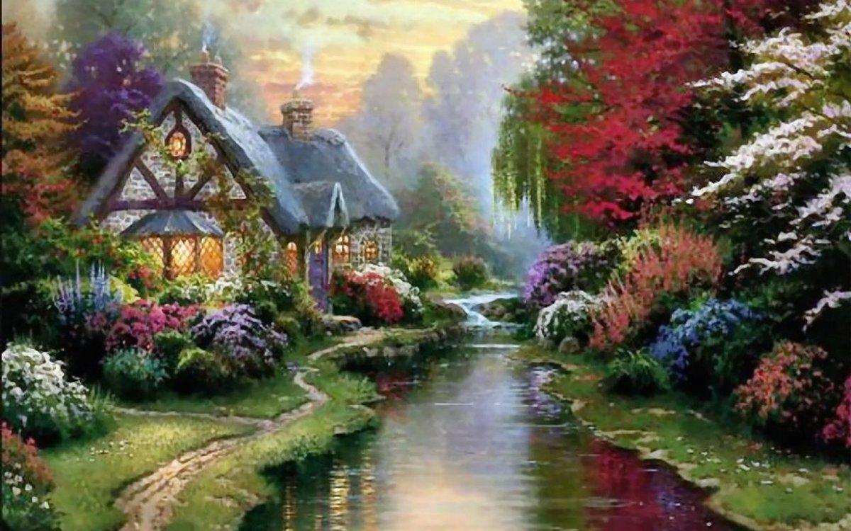 Осень сказочный домик гифка