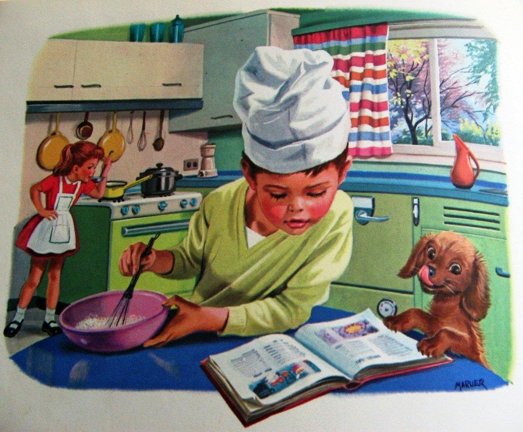 меня ещё сюжетные картинки моет посуду какое-то