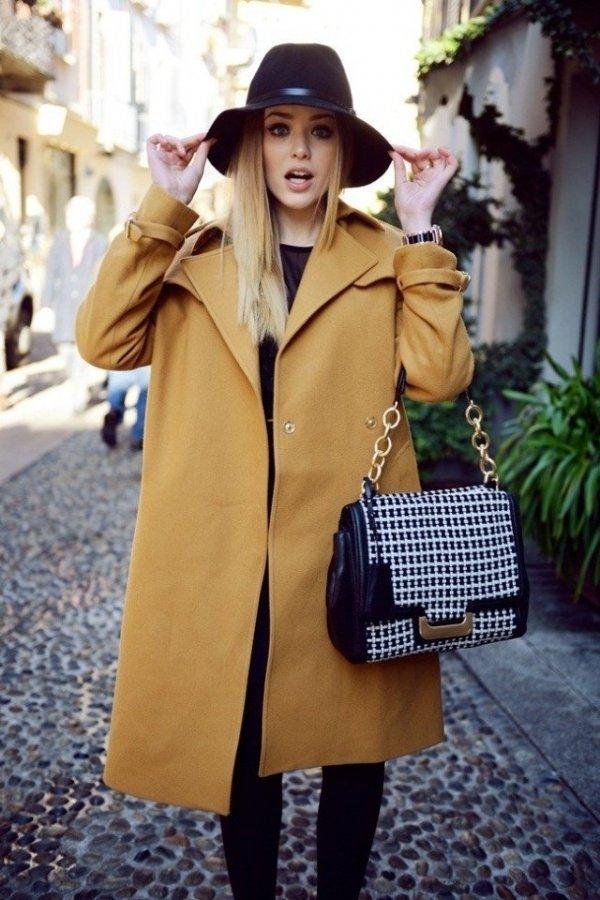 Теплое пальто и шляпа фото женское