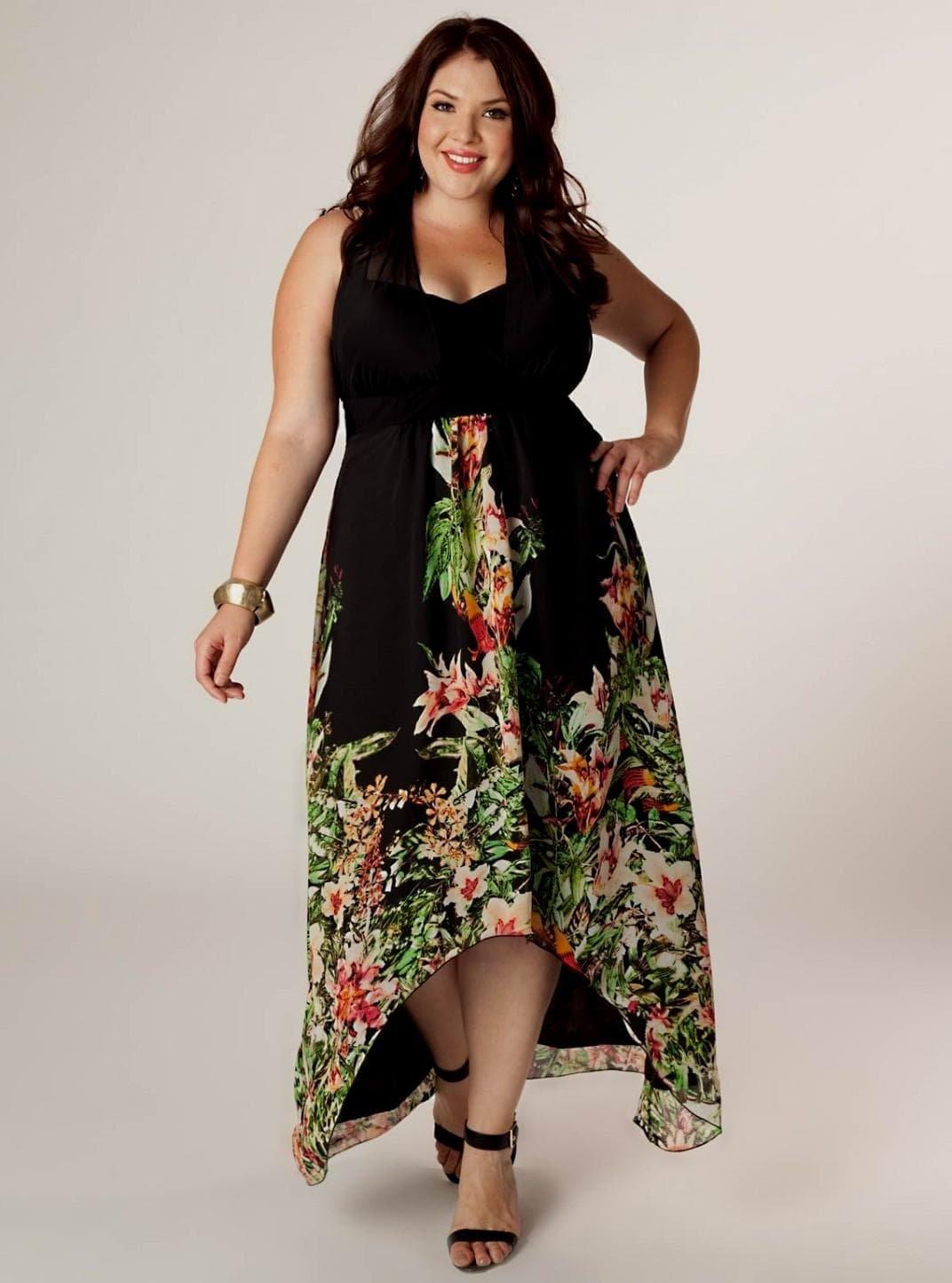 18d66a3934365b8 ... Летние платья больших размеров для полных женщин, как подобрать по типу  фигуры, возрасту,