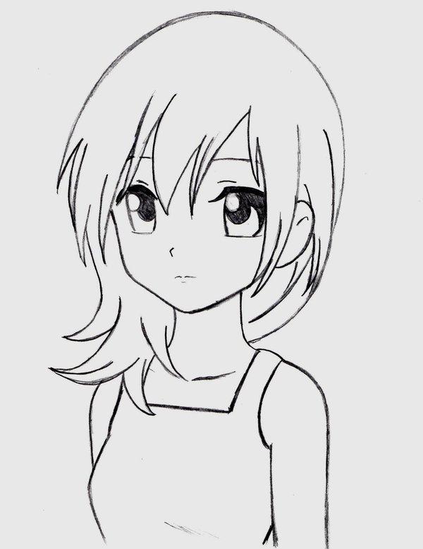 Картинки девушек аниме для срисовки карандашом легкие