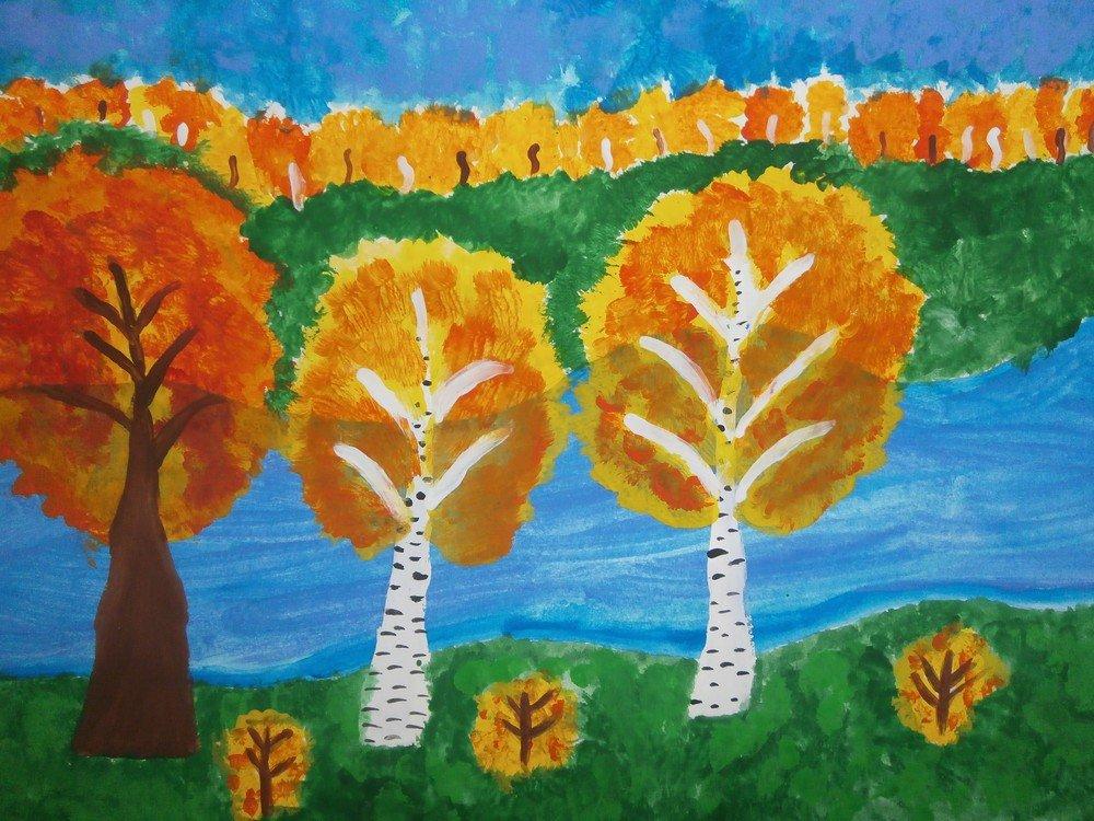 Детские рисунки осени картинки для