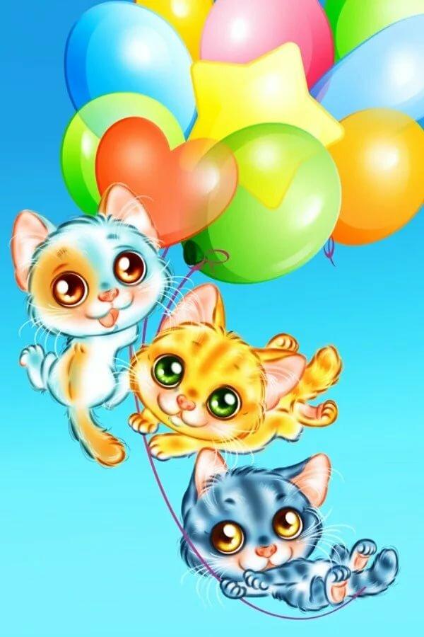 Нарисованные кошки картинки на день рождения