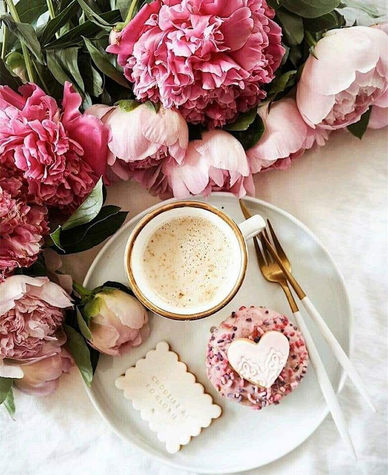 Нежные цветы и кофе картинки