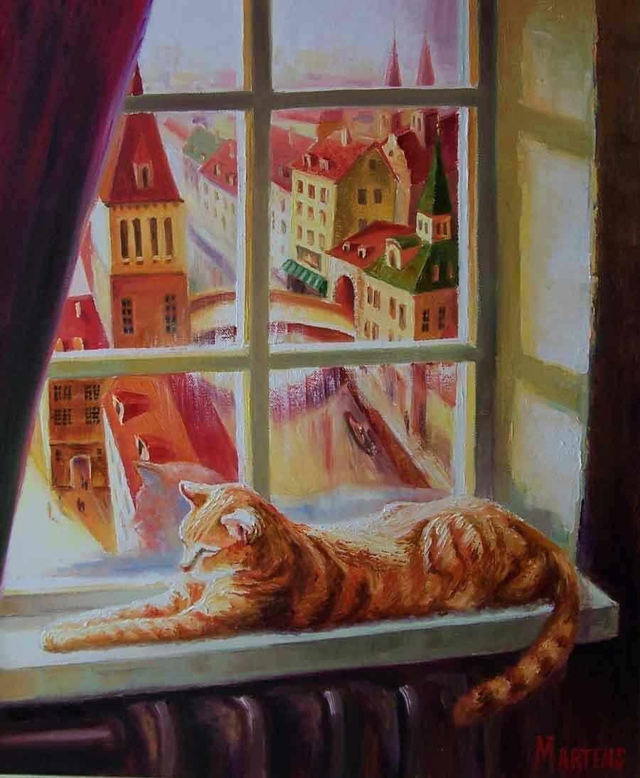 Картинки кошки у окошка