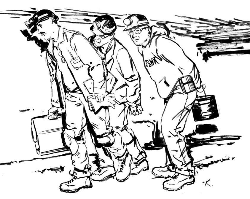 труд шахтеров рисунок при