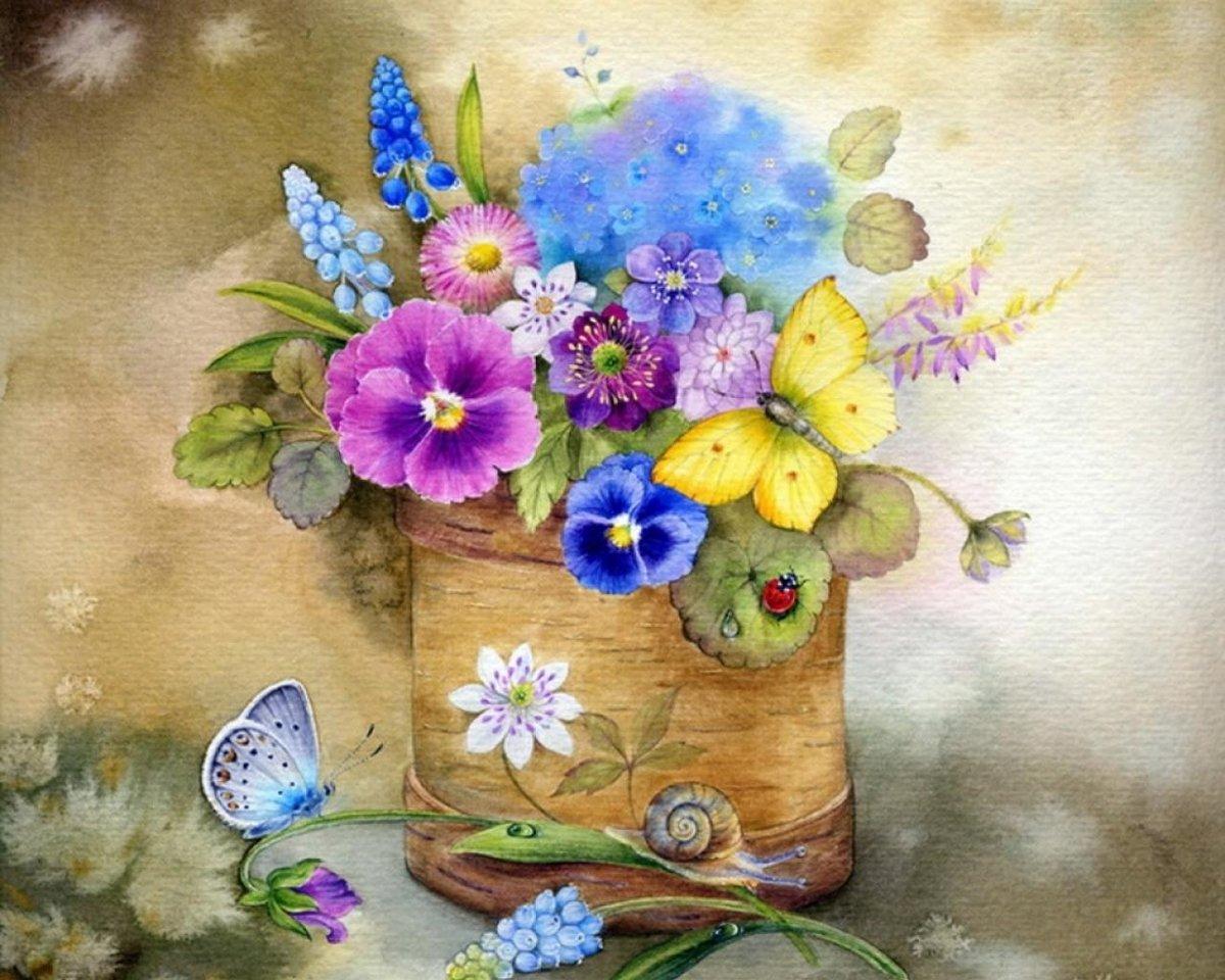 Днем, цветы для авторских открыток