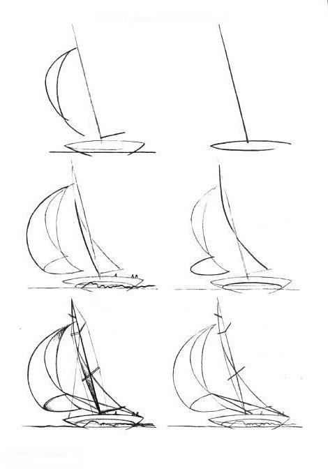 2. Рисуем еще один овал внутри лодки