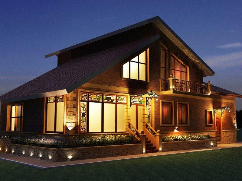 освещение фасада частного дома фото