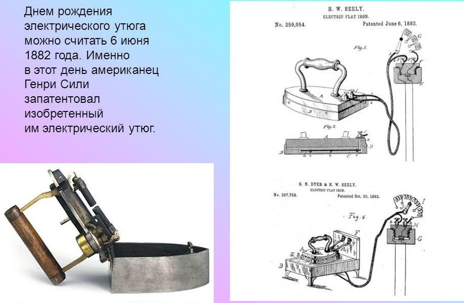 6 июня 1882 г. 136 лет назад Американец Генри Сили запатентовал электроутюг