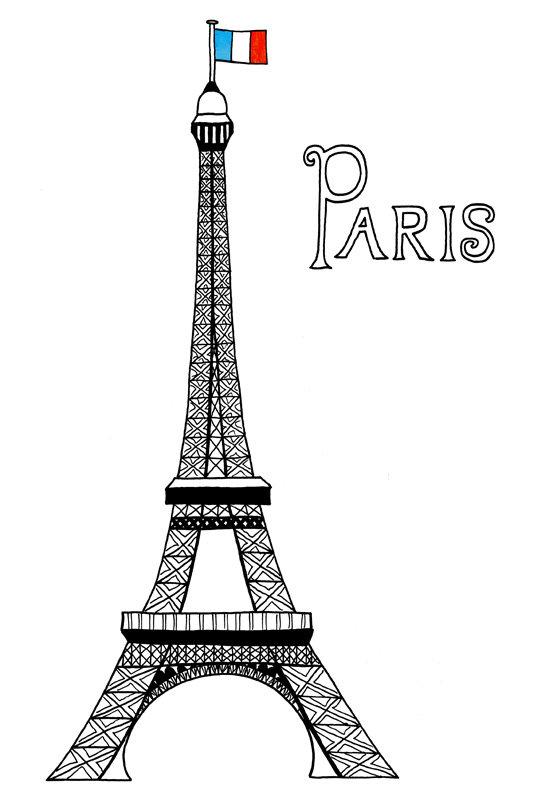 Париж картинки для срисовки, цветами
