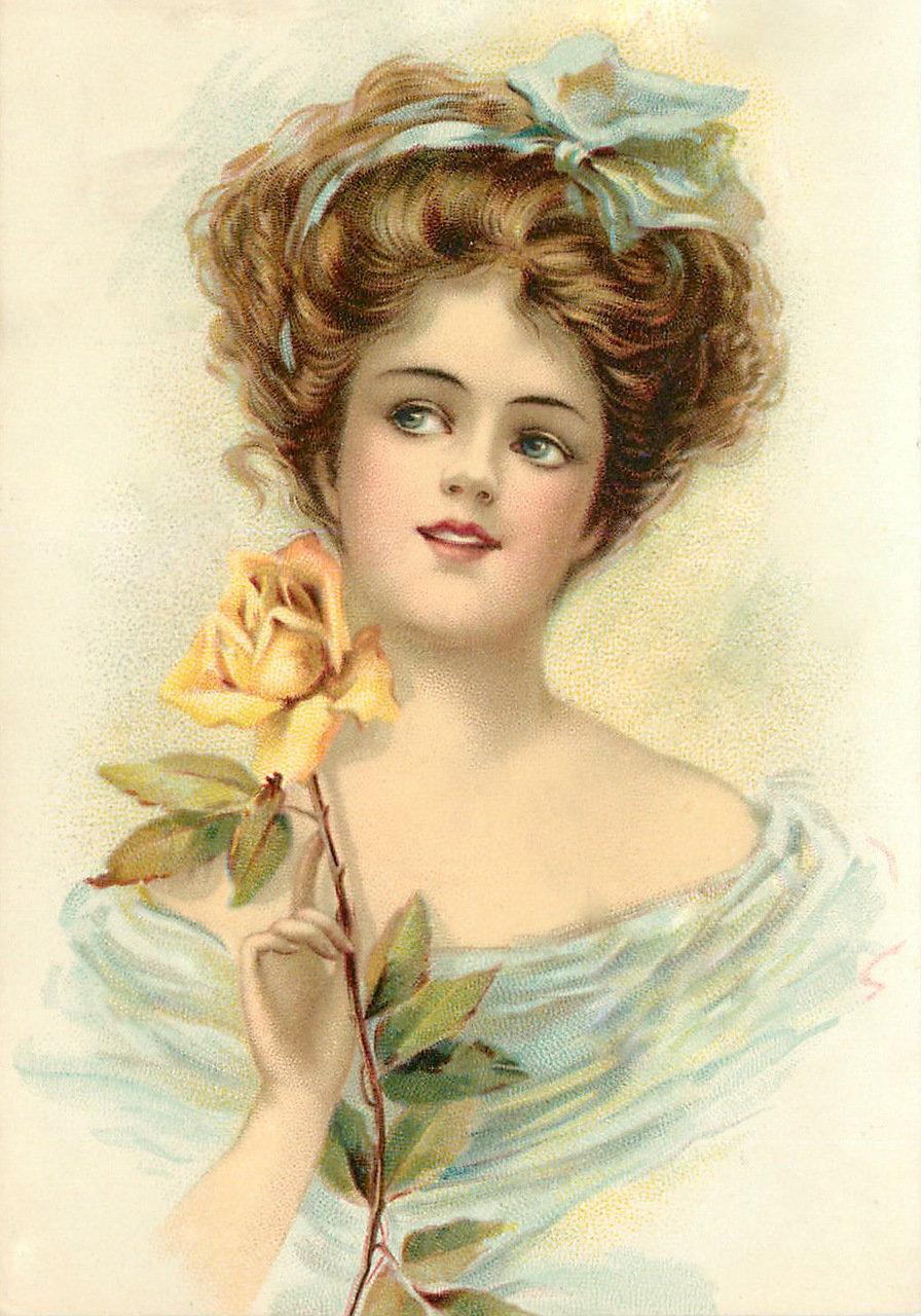 Винтажные открытки женщины