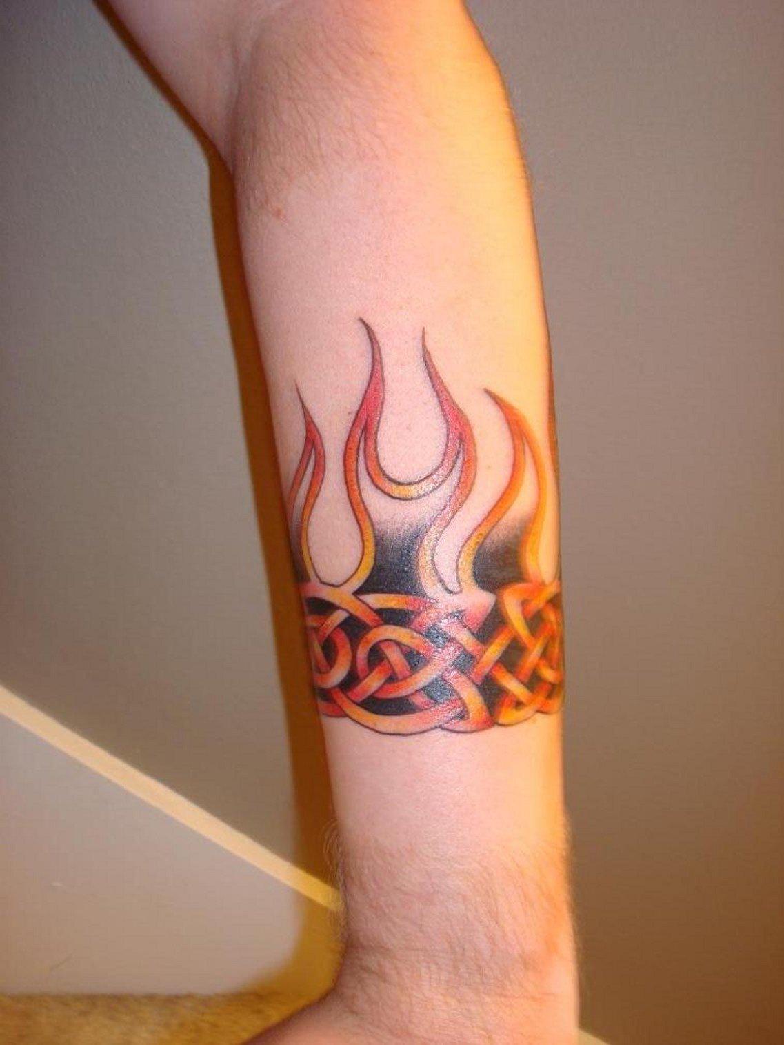 Картинки тату на руке мужские огонь и вода