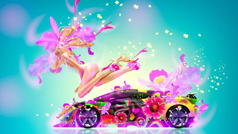 Merveilleux Fantasy Fly Sexy Flowers Girl Mix Lamborghini Sesto