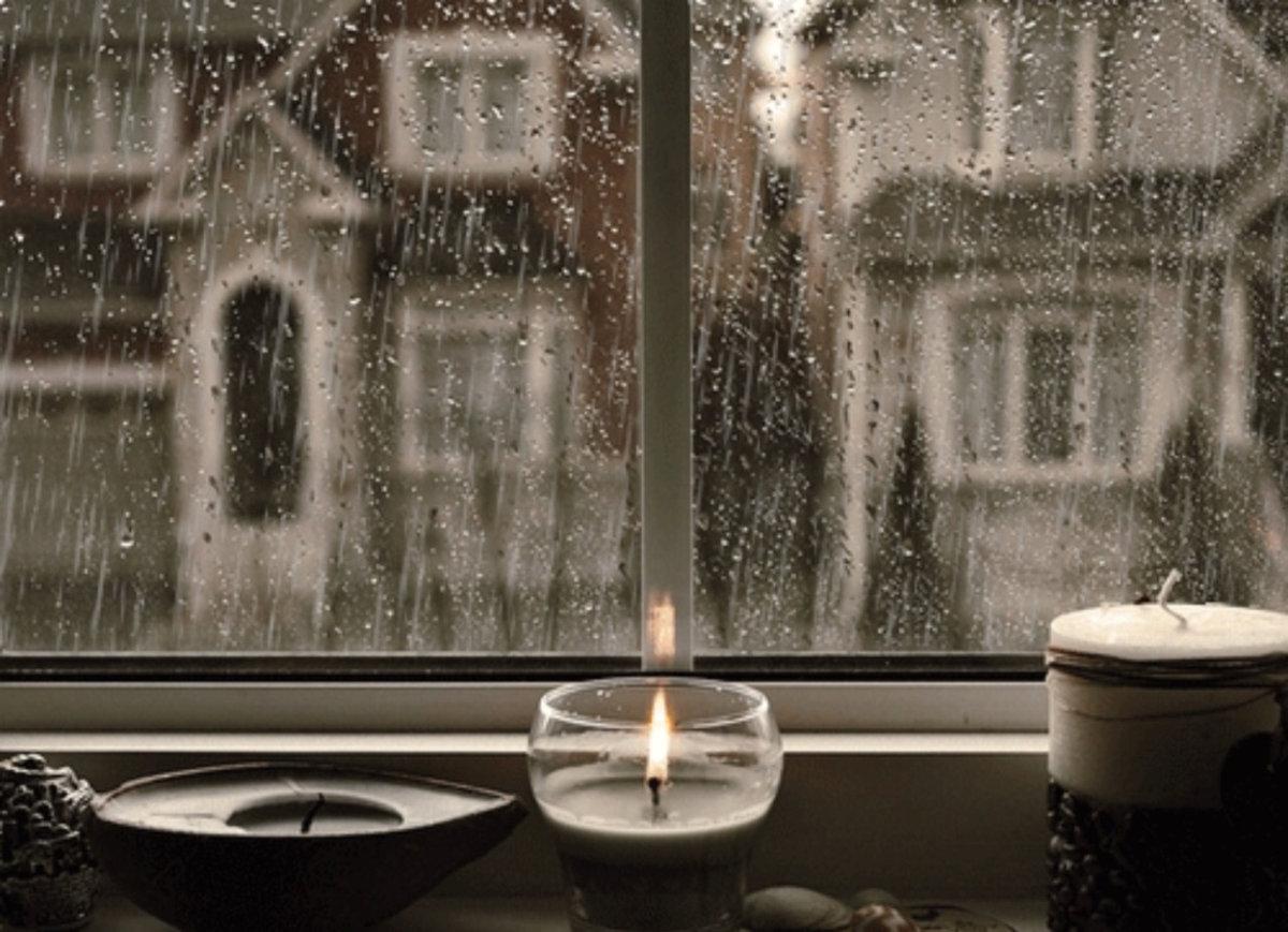 Гифка дождя за окном, днем