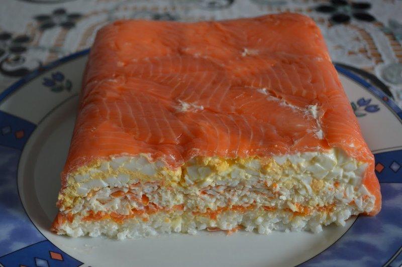 салат мимоза рецепт с фото с красной рыбой